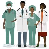 Equipe de funcion?rios m?dica Um grupo de profissões médicas dos homens e das mulheres Imagem do vetor isolada no fundo branco ilustração stock