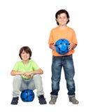 Equipe de futebol com esfera azul Foto de Stock