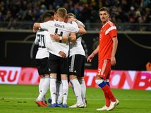 Equipe de futebol nacional alemão que comemora um objetivo marcado em inter imagens de stock royalty free