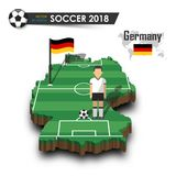Equipe de futebol nacional de Alemanha O jogador e a bandeira de futebol em 3d projetam o mapa do país Fundo isolado Vetor para o Fotos de Stock
