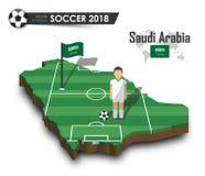 Equipe de futebol nacional de Arábia Saudita O jogador e a bandeira de futebol em 3d projetam o mapa do país Fundo isolado Vetor  Fotografia de Stock Royalty Free