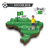Equipe de futebol nacional de Brasil O jogador e a bandeira de futebol em 3d projetam o mapa do país Fundo isolado Vetor para w i Imagem de Stock