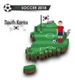 Equipe de futebol nacional de Coreia do Sul O jogador e a bandeira de futebol em 3d projetam o mapa do país Fundo isolado Vetor p Fotos de Stock