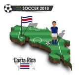Equipe de futebol nacional de Costa-Rica O jogador e a bandeira de futebol em 3d projetam o mapa do país Fundo isolado Vetor para Fotografia de Stock Royalty Free