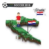 Equipe de futebol nacional da Croácia O jogador e a bandeira de futebol em 3d projetam o mapa do país Fundo isolado Vetor para o  Foto de Stock Royalty Free
