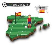 Equipe de futebol nacional da Espanha O jogador e a bandeira de futebol em 3d projetam o mapa do país Fundo isolado Vetor para o  Imagem de Stock Royalty Free