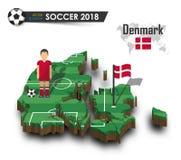 Equipe de futebol nacional de Dinamarca O jogador e a bandeira de futebol em 3d projetam o mapa do país Fundo isolado Vetor para  Fotos de Stock Royalty Free