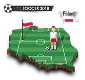Equipe de futebol nacional do Polônia O jogador e a bandeira de futebol em 3d projetam o mapa do país Fundo isolado Vetor para w  Foto de Stock Royalty Free
