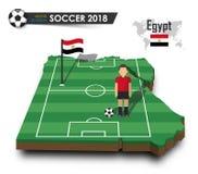 Equipe de futebol nacional de Egito O jogador e a bandeira de futebol em 3d projetam o mapa do país Fundo isolado Vetor para o wo Foto de Stock Royalty Free