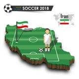 Equipe de futebol nacional de Irã O jogador e a bandeira de futebol em 3d projetam o mapa do país Fundo isolado Vetor para o wor  Foto de Stock