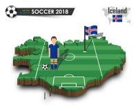 Equipe de futebol nacional de Islândia O jogador e a bandeira de futebol em 3d projetam o mapa do país Fundo isolado Vetor para o Imagem de Stock Royalty Free