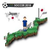 Equipe de futebol nacional de Japão O jogador e a bandeira de futebol em 3d projetam o mapa do país Fundo isolado Vetor para o wo Imagem de Stock