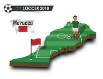 Equipe de futebol nacional de Marrocos O jogador e a bandeira de futebol em 3d projetam o mapa do país Fundo isolado Vetor para o Imagens de Stock Royalty Free