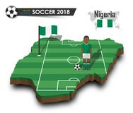 Equipe de futebol nacional de Nigéria O jogador e a bandeira de futebol em 3d projetam o mapa do país Fundo isolado Vetor para o  Fotos de Stock