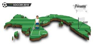 Equipe de futebol nacional de Panamá O jogador e a bandeira de futebol em 3d projetam o mapa do país Fundo isolado Vetor para w i Fotografia de Stock Royalty Free