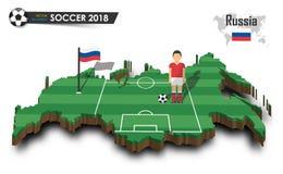 Equipe de futebol nacional de Rússia O jogador e a bandeira de futebol em 3d projetam o mapa do país Fundo isolado Vetor para w i Imagem de Stock Royalty Free