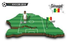 Equipe de futebol nacional de Senegal O jogador e a bandeira de futebol em 3d projetam o mapa do país Fundo isolado Vetor para o  Fotografia de Stock