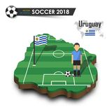 Equipe de futebol nacional de Uruguai O jogador e a bandeira de futebol em 3d projetam o mapa do país Fundo isolado Vetor para o  Fotos de Stock Royalty Free