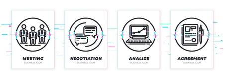 Equipe de Glitched, conversação, caderno, ícones do contrato ajustados ilustração royalty free