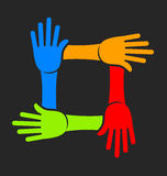 Equipe de quatro mãos Foto de Stock