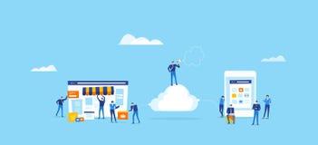 A equipe do colaborador e do desenhista cria a loja em linha e conecta-a na nuvem ilustração royalty free