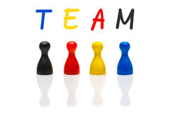 Equipe do conceito, trabalhos de equipa, baralhamento do preto da cor preliminar da organização Foto de Stock Royalty Free