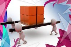 a equipe do homem 3d leva a ilustração da caixa Fotos de Stock Royalty Free