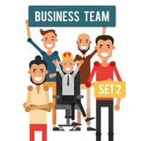 Equipe do negócio Chefe dos desenhos animados na coroa com colegas Vetor Fotos de Stock Royalty Free