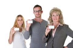 Equipe do negócio com cartões 1 fotografia de stock