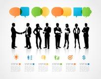 Equipe do negócio com elementos de Infographic Fotografia de Stock Royalty Free