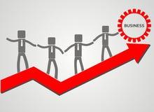 Equipe do negócio Conceito dos trabalhos de equipa seta e homem de negócios vermelhos Fotos de Stock Royalty Free