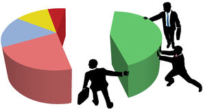 A equipe do negócio cresce vendas da parte de mercado Imagem de Stock Royalty Free