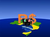 Equipe do negócio de Brasil no mapa Imagem de Stock