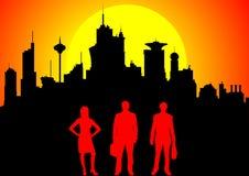 Equipe do negócio de encontro à baixa no por do sol ilustração do vetor