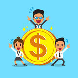 Equipe do negócio do conceito do negócio com moeda grande Imagens de Stock