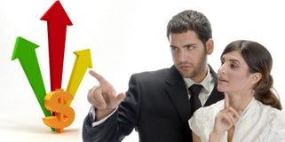 Equipe do negócio e setas tridimensionais Fotografia de Stock Royalty Free