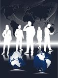 Equipe do negócio global, silhueta ilustração do vetor