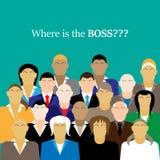 Equipe do negócio Grupo de trabalhadores de escritório Onde está o CHEFE Foto de Stock