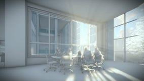 A equipe do negócio mostra em silhueta a reunião, prédio de escritórios, argila 3d rende ilustração stock