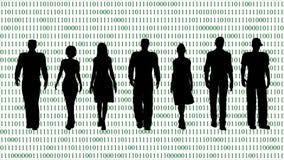 Equipe do negócio no fundo do código binário ilustração do vetor