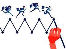 Equipe do negócio que corre no gráfico tirado dos dados Personagem de banda desenhada ilustração stock