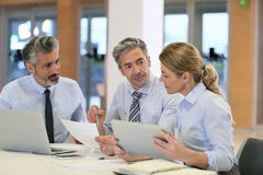 Equipe do negócio que encontra e que discute o projeto financeiro Imagens de Stock