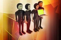 Equipe do negócio que olha um portátil Foto de Stock Royalty Free