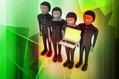 Equipe do negócio que olha um portátil Foto de Stock