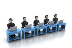 Equipe do negócio que olha um portátil Imagens de Stock Royalty Free