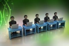 Equipe do negócio que olha um portátil Fotos de Stock