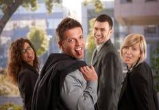 Equipe do negócio que tem o divertimento Foto de Stock