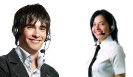 Equipe do operador do serviço de informações Imagens de Stock