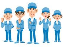 Equipe do pessoal do trabalho que veste a roupa de funcionamento azul ilustração royalty free