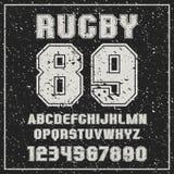 Equipe do rugby da fonte de Sans Serif com os contornos e a textura gasto Imagem de Stock